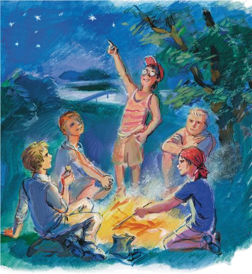 Рисунок дети сидят у костра